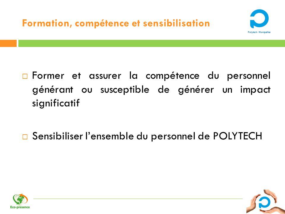 Polytech Montpellier Formation, compétence et sensibilisation Former et assurer la compétence du personnel générant ou susceptible de générer un impac