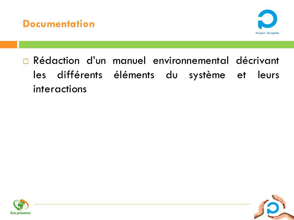 Polytech Montpellier Documentation Rédaction dun manuel environnemental décrivant les différents éléments du système et leurs interactions