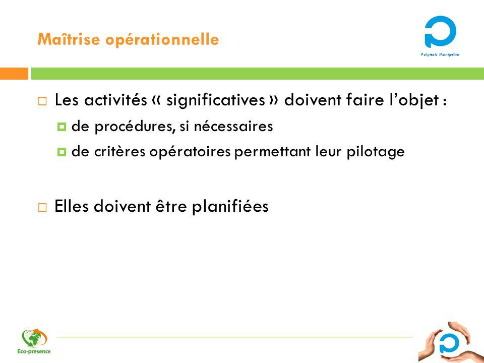 Polytech Montpellier Maîtrise opérationnelle Les activités « significatives » doivent faire lobjet : de procédures, si nécessaires de critères opérato