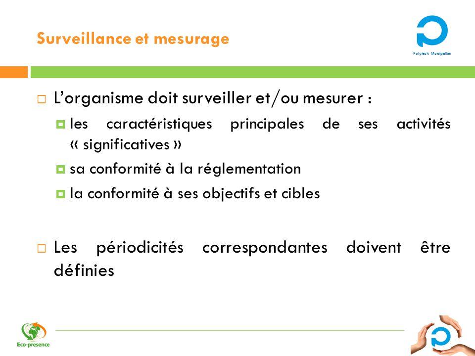 Polytech Montpellier Surveillance et mesurage Lorganisme doit surveiller et/ou mesurer : les caractéristiques principales de ses activités « significa