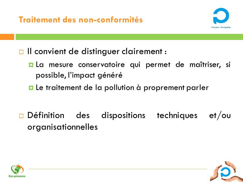 Polytech Montpellier Traitement des non-conformités Il convient de distinguer clairement : La mesure conservatoire qui permet de maîtriser, si possibl