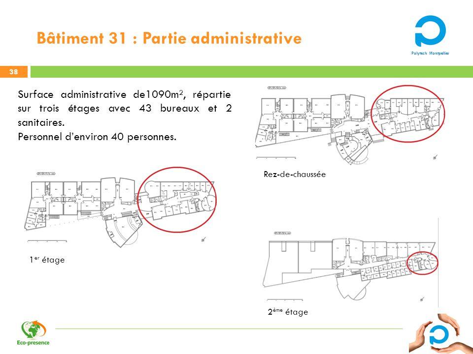 Polytech Montpellier Bâtiment 31 : Partie administrative 38 Surface administrative de1090m², répartie sur trois étages avec 43 bureaux et 2 sanitaires