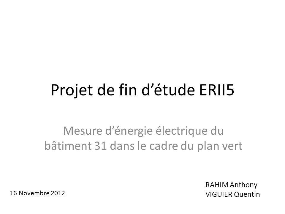 Projet de fin détude ERII5 Mesure dénergie électrique du bâtiment 31 dans le cadre du plan vert RAHIM Anthony VIGUIER Quentin 16 Novembre 2012