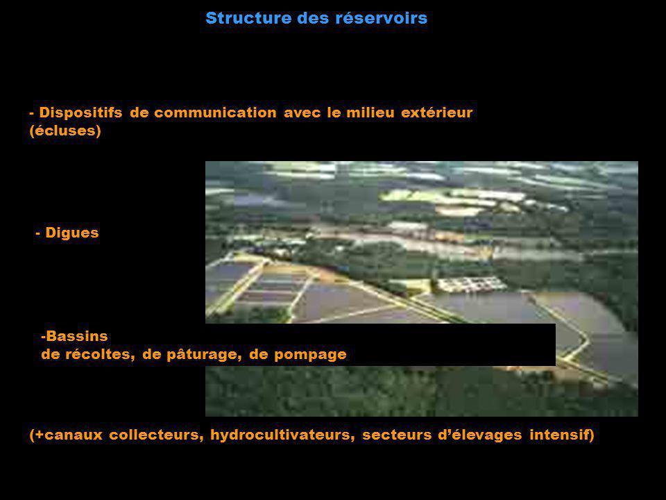 Structure des réservoirs - Digues -Bassins de récoltes, de pâturage, de pompage - Dispositifs de communication avec le milieu extérieur (écluses) (+ca