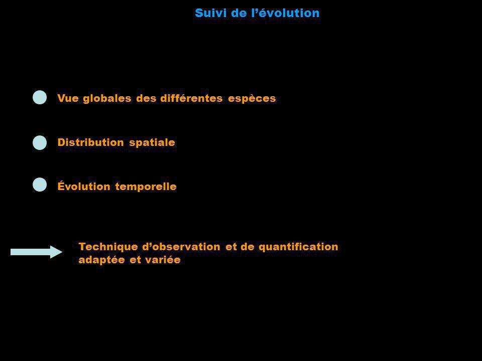 Technique dobservation et de quantification adaptée et variée Suivi de lévolution Distribution spatiale Évolution temporelle Vue globales des différen
