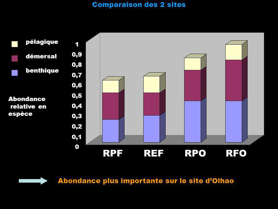 Comparaison des 2 sites Abondance relative en espèce 0 0,1 0,2 0,3 0,4 0,5 0,6 0,7 0,8 0,9 1 RPFREFRPORFO pélagique démersal benthique Abondance plus