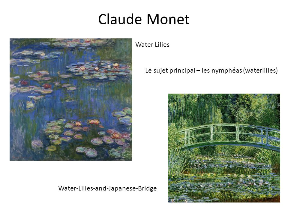 Claude Monet Water Lilies Water-Lilies-and-Japanese-Bridge Le sujet principal – les nymphéas (waterlilies)
