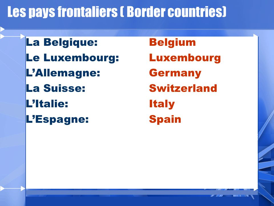 Les pays frontaliers ( Border countries) La Belgique: Le Luxembourg: LAllemagne: La Suisse: LItalie: LEspagne: Belgium Luxembourg Germany Switzerland Italy Spain