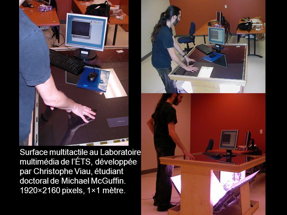 Surface multitactile au Laboratoire multimédia de lÉTS, développée par Christophe Viau, étudiant doctoral de Michael McGuffin.
