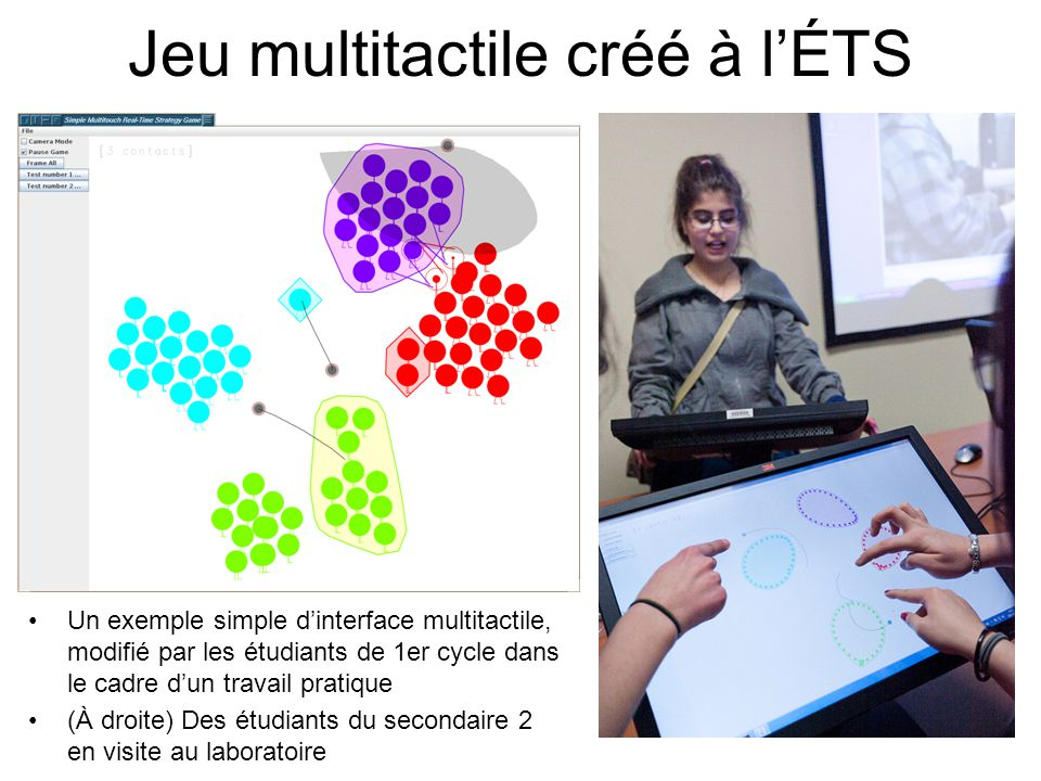 Jeu multitactile créé à lÉTS Un exemple simple dinterface multitactile, modifié par les étudiants de 1er cycle dans le cadre dun travail pratique (À droite) Des étudiants du secondaire 2 en visite au laboratoire