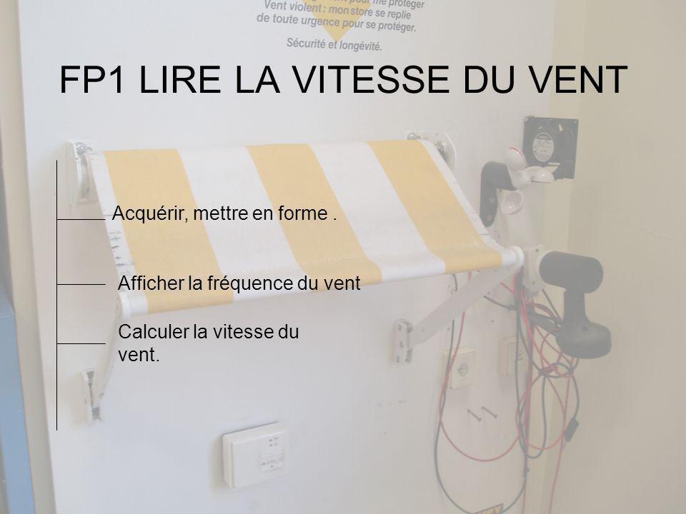 FP1 LIRE LA VITESSE DU VENT Acquérir, mettre en forme.