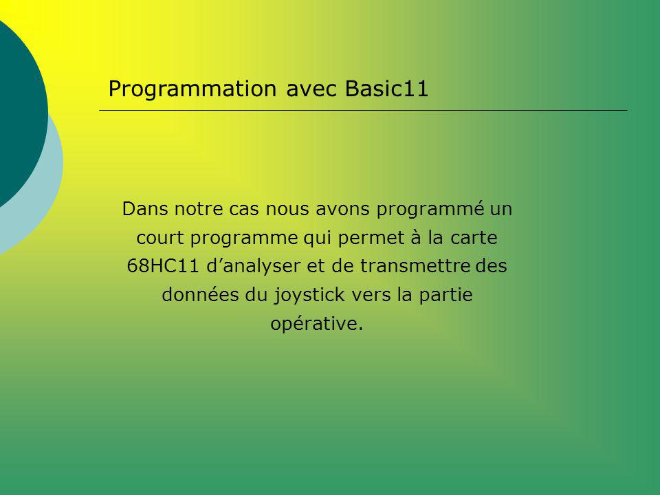Programmation avec Basic11 Dans notre cas nous avons programmé un court programme qui permet à la carte 68HC11 danalyser et de transmettre des données