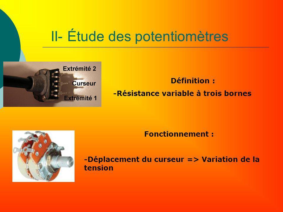 II- Étude des potentiomètres Fonctionnement : -Déplacement du curseur => Variation de la tension Définition : -Résistance variable à trois bornes