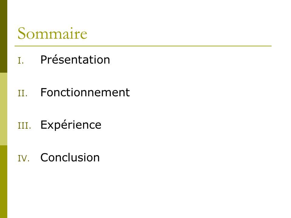 Sommaire I. Présentation II. Fonctionnement III. Expérience IV. Conclusion