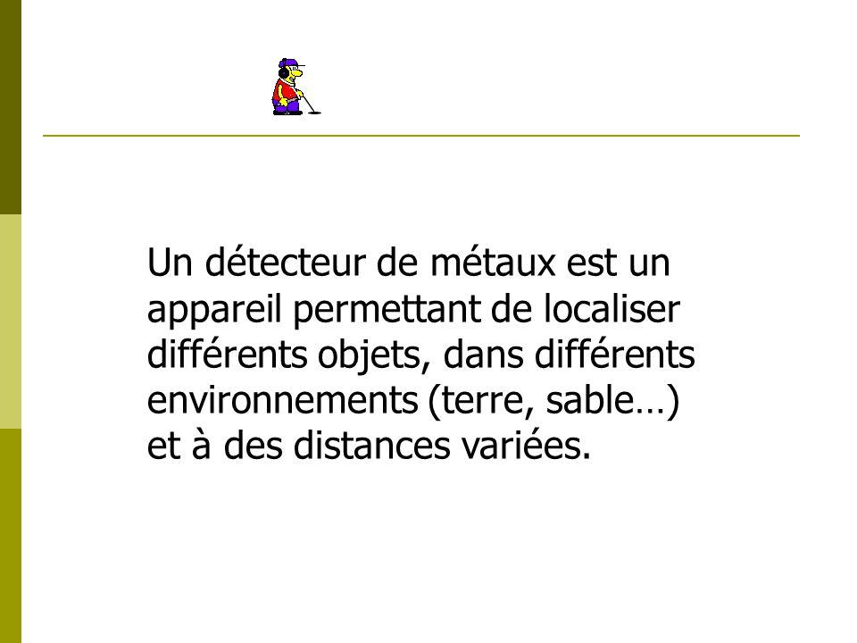 Un détecteur de métaux est un appareil permettant de localiser différents objets, dans différents environnements (terre, sable…) et à des distances va