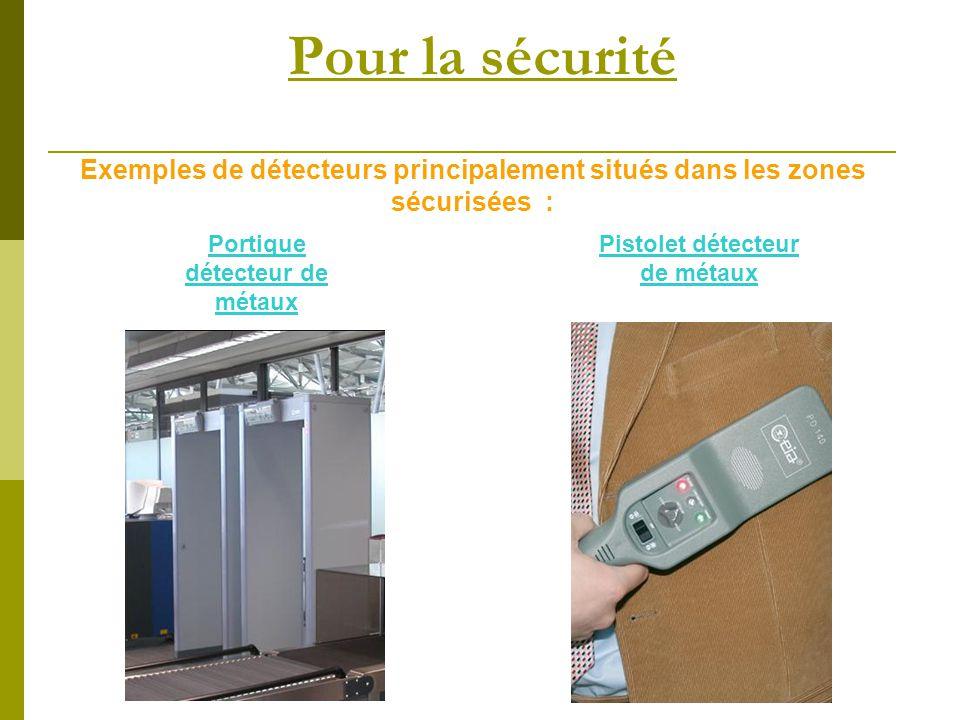 Pour la sécurité Exemples de détecteurs principalement situés dans les zones sécurisées : Pistolet détecteur de métaux Portique détecteur de métaux