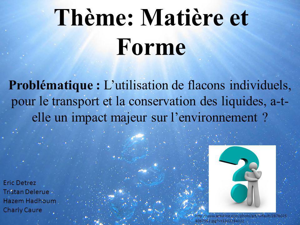 Thème: Matière et Forme Problématique : Lutilisation de flacons individuels, pour le transport et la conservation des liquides, a-t- elle un impact ma