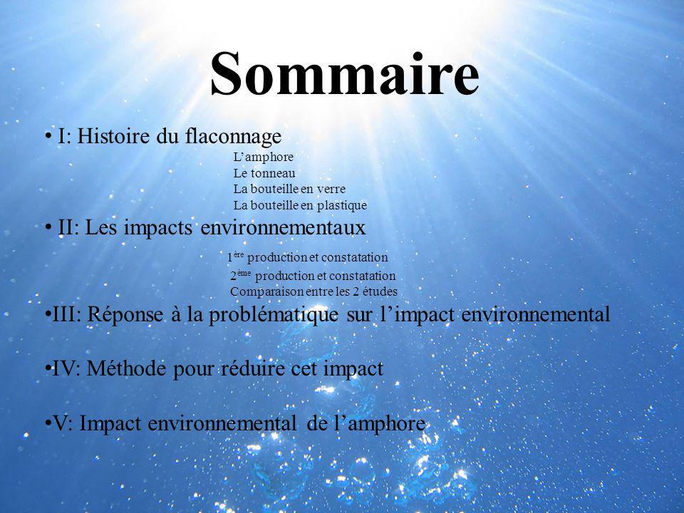 Sommaire I: Histoire du flaconnage Lamphore Le tonneau La bouteille en verre La bouteille en plastique II: Les impacts environnementaux 1 ère producti