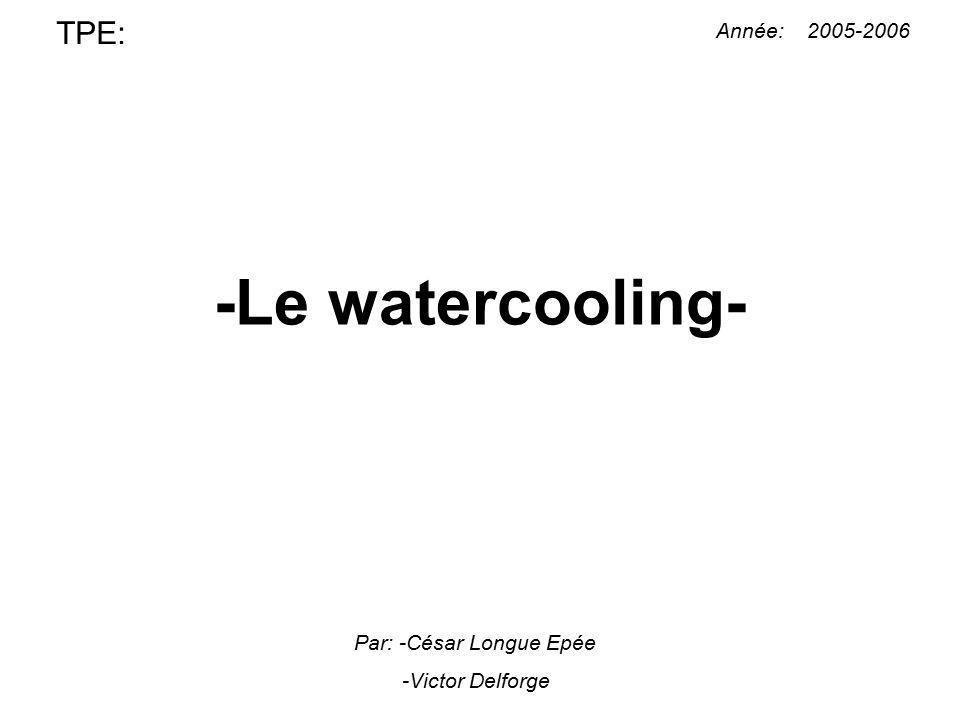 -Le watercooling- TPE: Année: 2005-2006 Par: -César Longue Epée -Victor Delforge