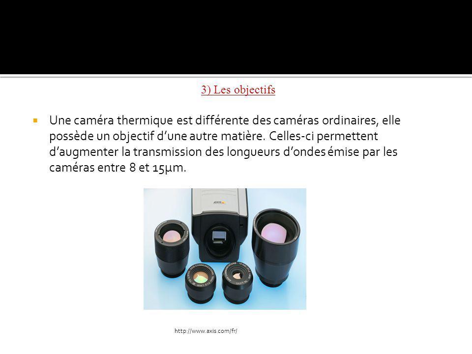 3) Les objectifs Une caméra thermique est différente des caméras ordinaires, elle possède un objectif dune autre matière.