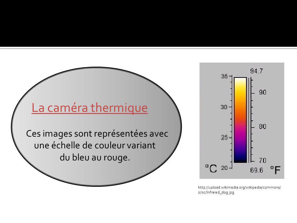 La caméra thermique Ces images sont représentées avec une échelle de couleur variant du bleu au rouge.