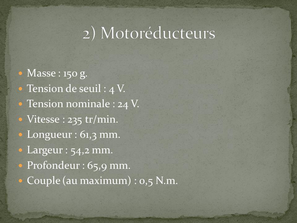 Masse : 150 g. Tension de seuil : 4 V. Tension nominale : 24 V. Vitesse : 235 tr/min. Longueur : 61,3 mm. Largeur : 54,2 mm. Profondeur : 65,9 mm. Cou