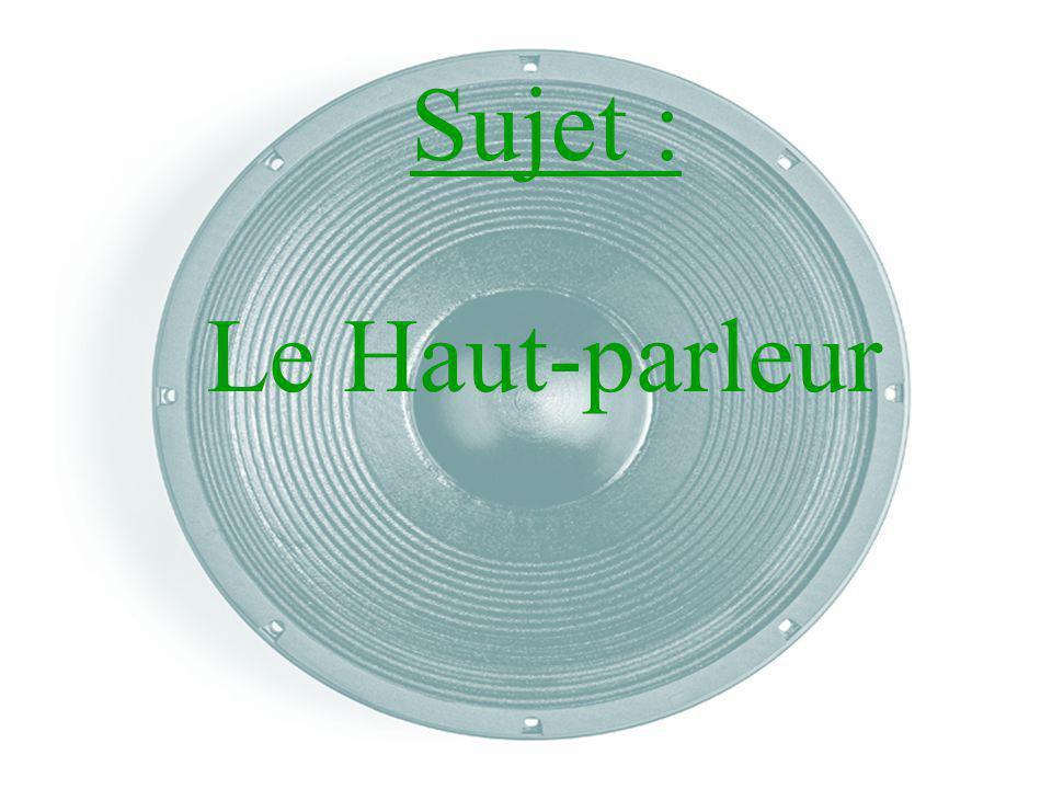 I) Quest-ce quun son .II) Généralité - le domaine dutilisation - Quest-ce quun haut-parleur.