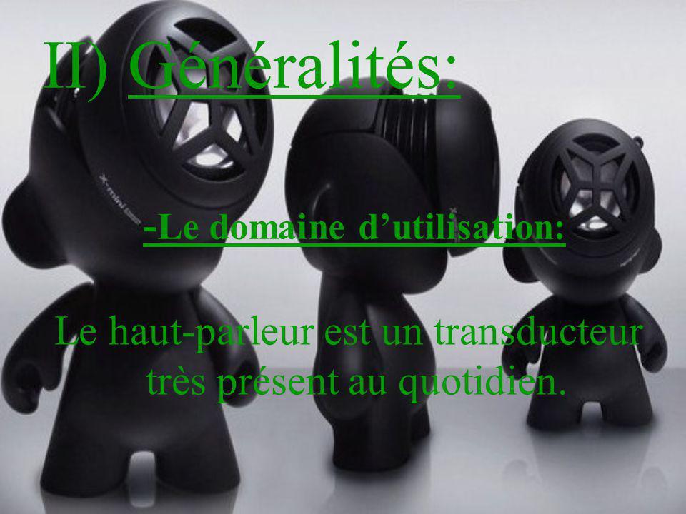II) Généralités: Le haut-parleur est un transducteur très présent au quotidien. - Le domaine dutilisation: