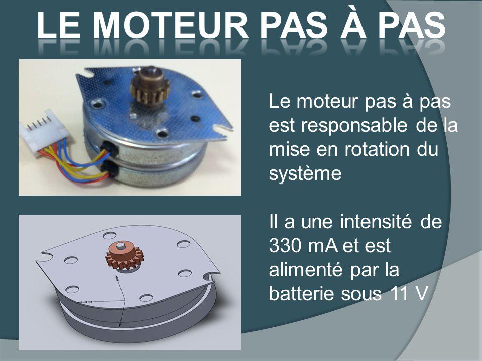 Le moteur pas à pas est responsable de la mise en rotation du système Il a une intensité de 330 mA et est alimenté par la batterie sous 11 V
