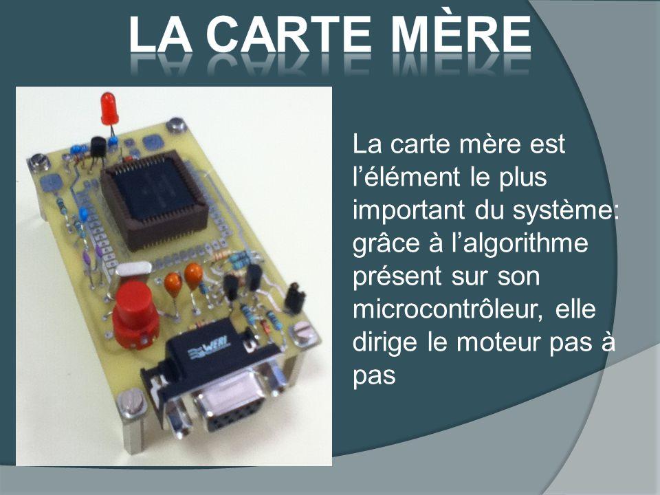 La carte mère est lélément le plus important du système: grâce à lalgorithme présent sur son microcontrôleur, elle dirige le moteur pas à pas