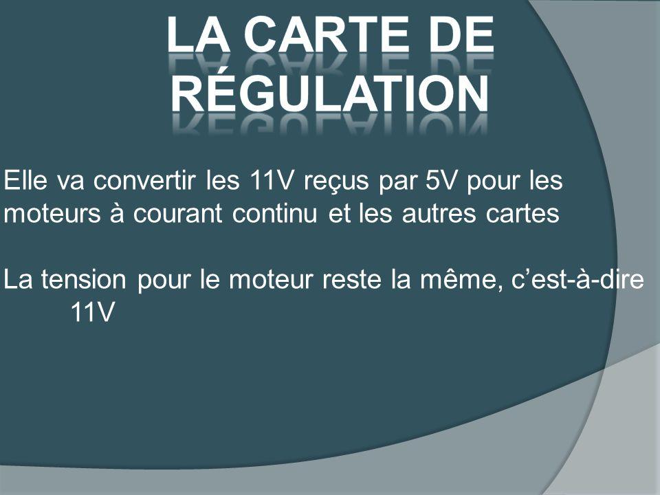 Elle va convertir les 11V reçus par 5V pour les moteurs à courant continu et les autres cartes La tension pour le moteur reste la même, cest-à-dire 11V