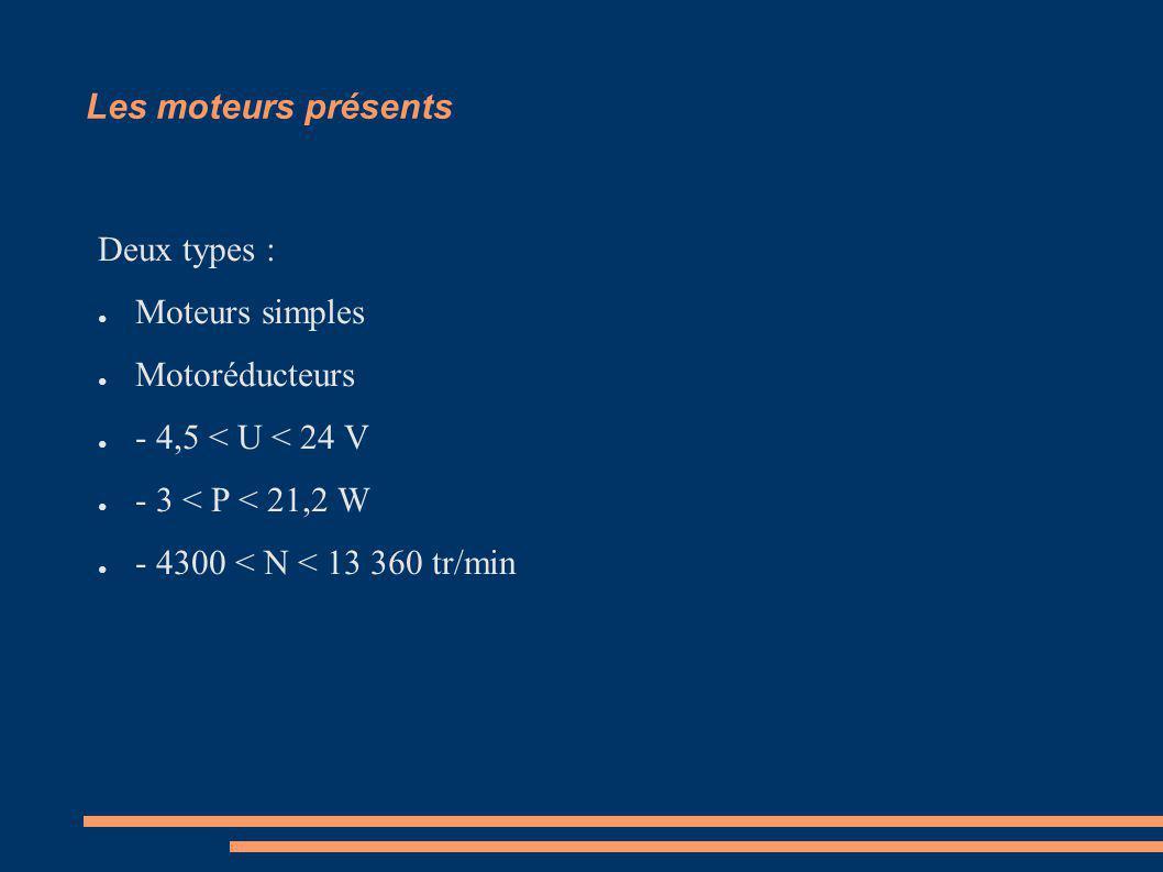 Les moteurs présents Deux types : Moteurs simples Motoréducteurs - 4,5 < U < 24 V - 3 < P < 21,2 W - 4300 < N < 13 360 tr/min