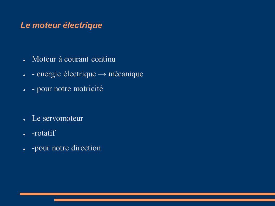 Le moteur électrique Moteur à courant continu - energie électrique mécanique - pour notre motricité Le servomoteur -rotatif -pour notre direction