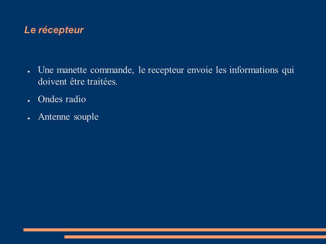 Le récepteur Une manette commande, le recepteur envoie les informations qui doivent être traitées. Ondes radio Antenne souple
