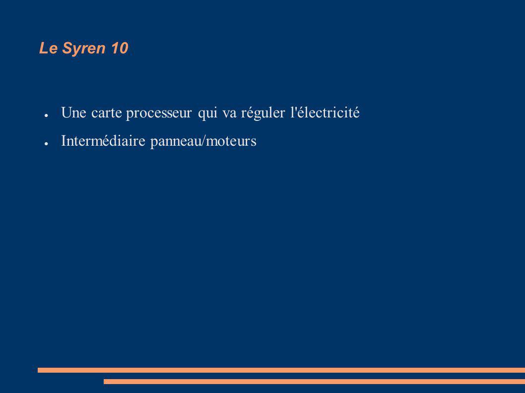 Le Syren 10 Une carte processeur qui va réguler l'électricité Intermédiaire panneau/moteurs