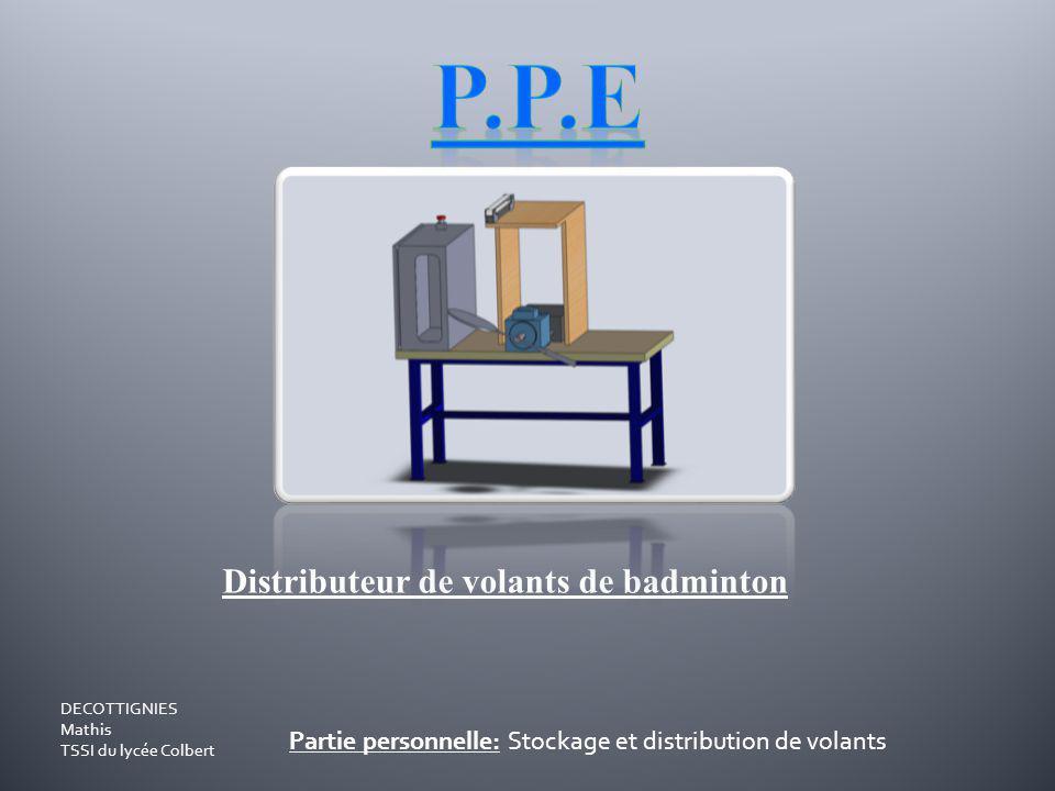 Distributeur de volants de badminton Partie personnelle: Stockage et distribution de volants DECOTTIGNIES Mathis TSSI du lycée Colbert