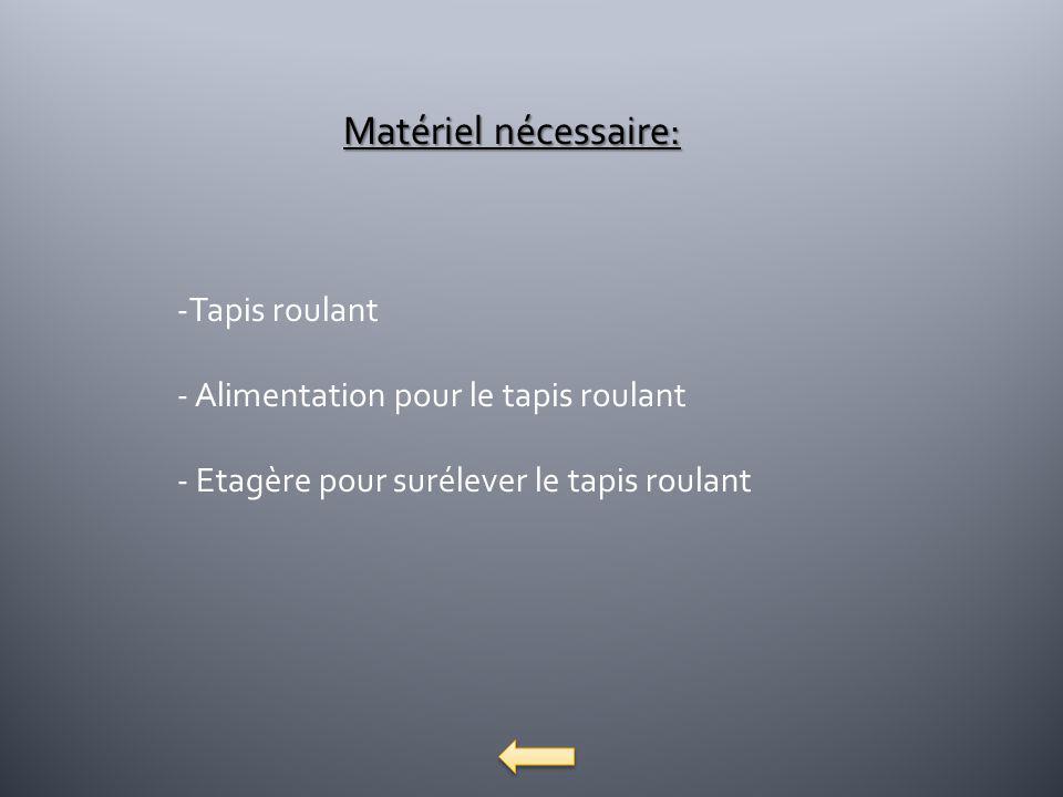 Matériel nécessaire: -Tapis roulant - Alimentation pour le tapis roulant - Etagère pour surélever le tapis roulant