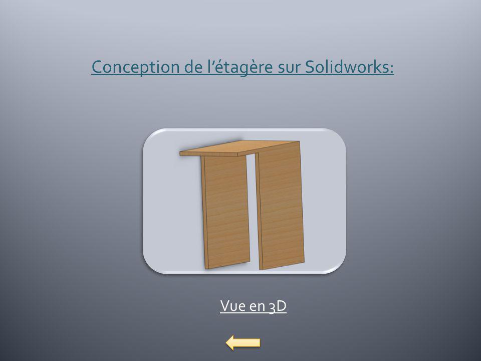 Conception de létagère sur Solidworks: Vue en 3D