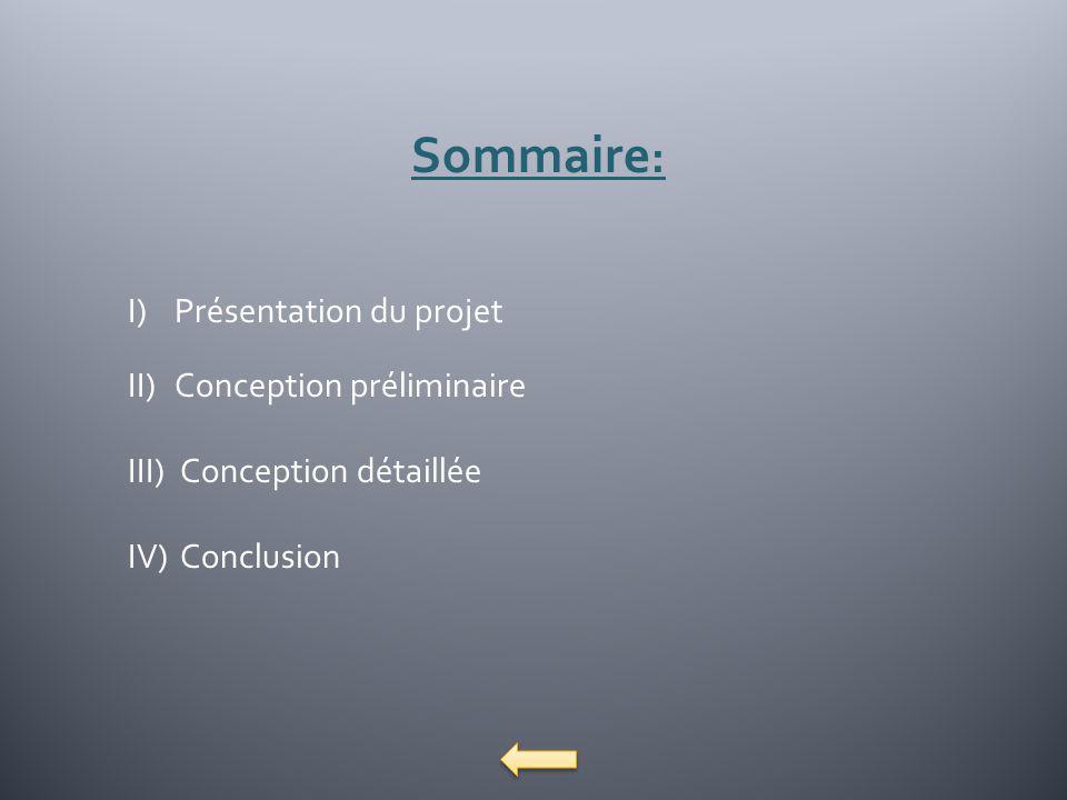 Sommaire : I)Présentation du projet II)Conception préliminaire III) Conception détaillée IV) Conclusion