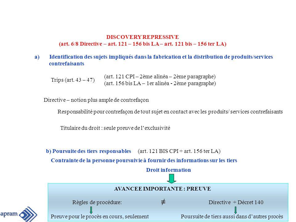 DISCOVERY REPRESSIVE (art.6/8 Directive – art. 121 – 156 bis LA – art.