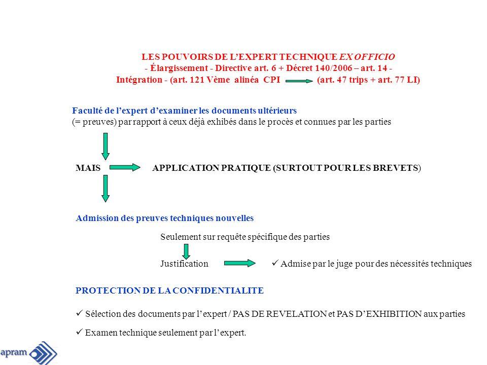 LES POUVOIRS DE LEXPERT TECHNIQUE EX OFFICIO - Élargissement - Directive art.
