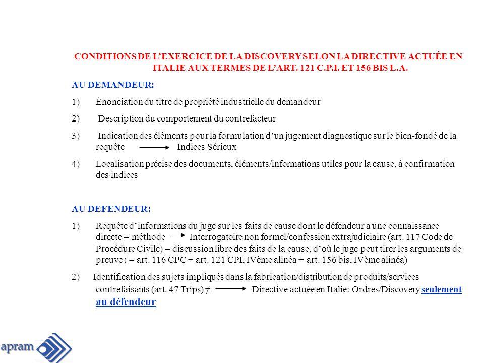 CONCLUSIONS 1)Notion + ample de contrefaçon Toute atteinte aux droits de P.I.