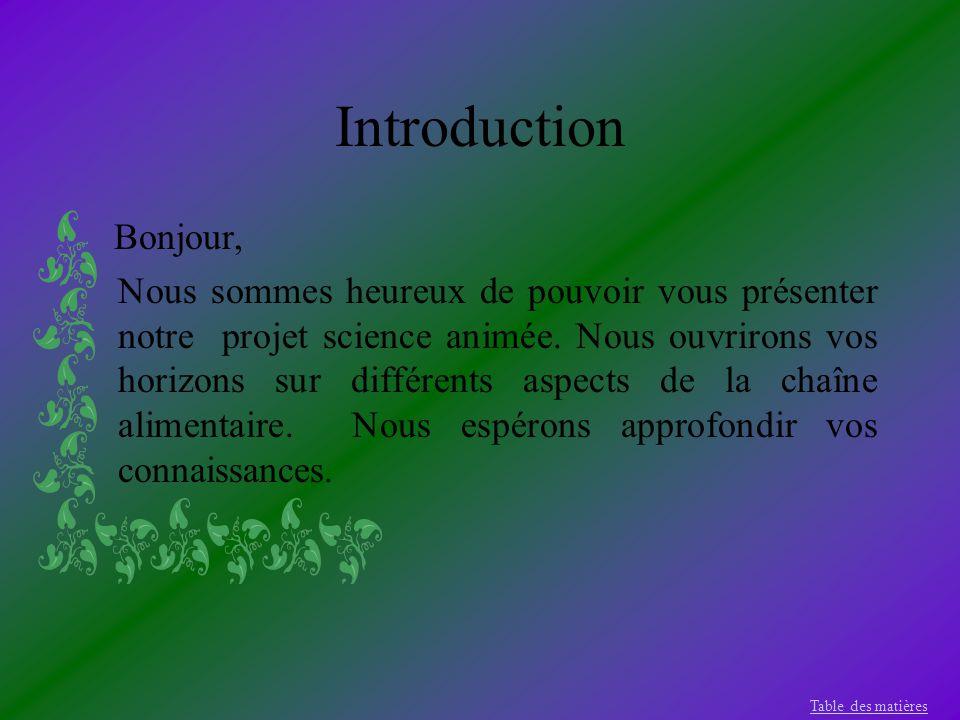 Introduction Bonjour, Nous sommes heureux de pouvoir vous présenter notre projet science animée. Nous ouvrirons vos horizons sur différents aspects de