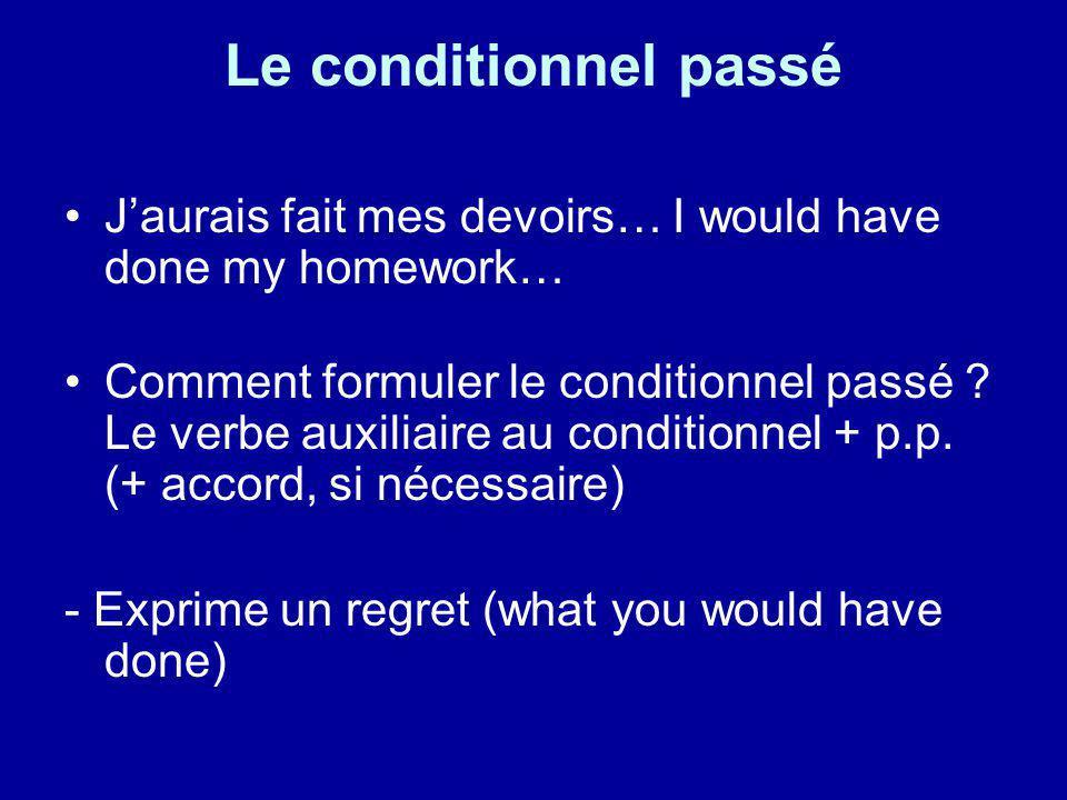 Le conditionnel passé Jaurais fait mes devoirs… I would have done my homework… Comment formuler le conditionnel passé ? Le verbe auxiliaire au conditi