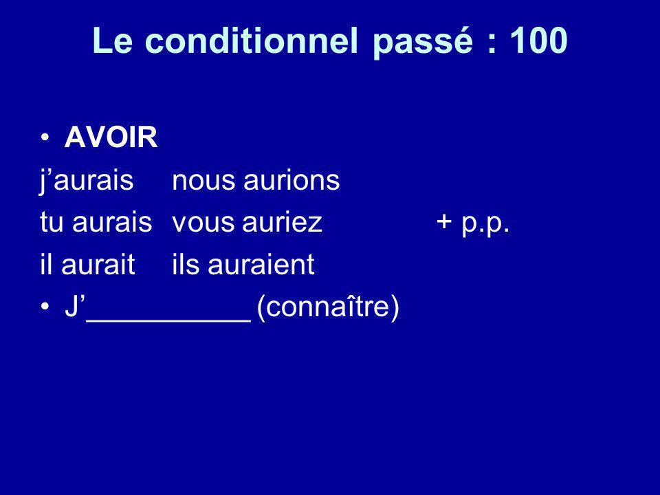 Le conditionnel passé : 100 AVOIR jaurais nous aurions tu auraisvous auriez+ p.p. il auraitils auraient J__________ (connaître)