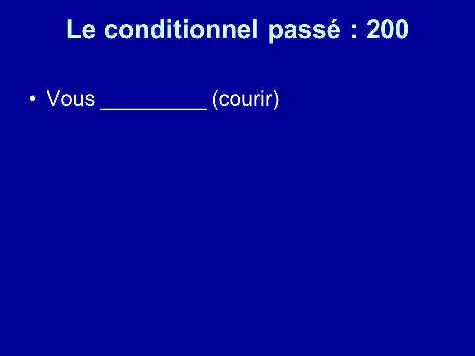 Le conditionnel passé : 200 Vous _________ (courir)