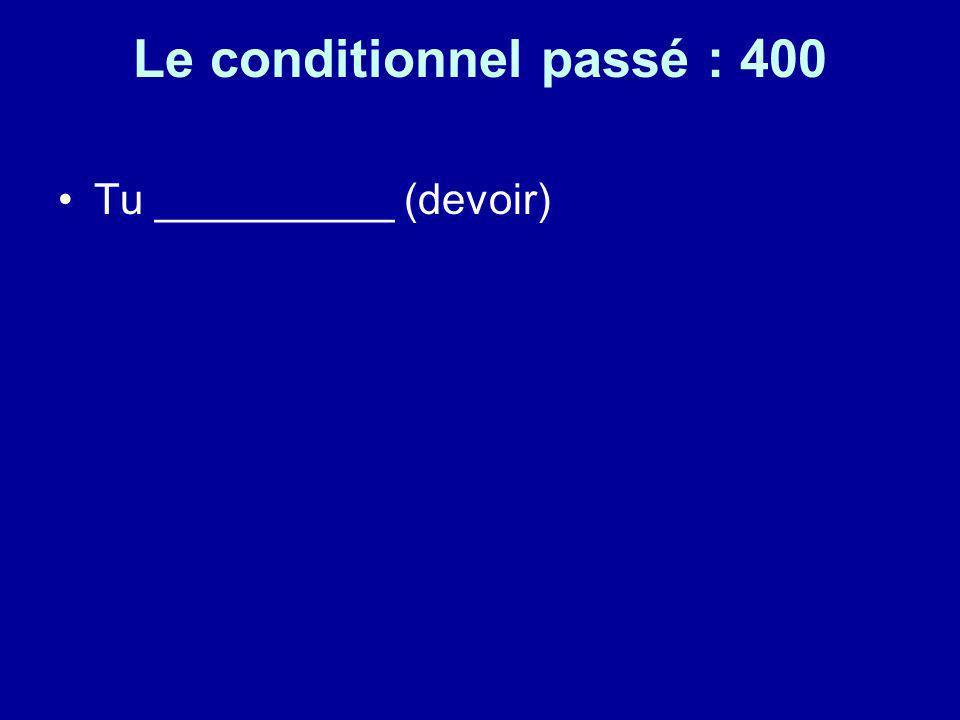 Le conditionnel passé : 400 Tu __________ (devoir)