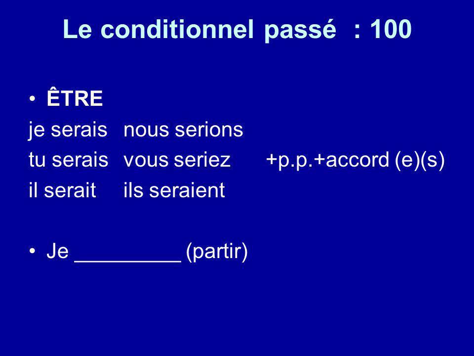 Le conditionnel passé : 100 ÊTRE je serais nous serions tu serais vous seriez+p.p.+accord (e)(s) il seraitils seraient Je _________ (partir)