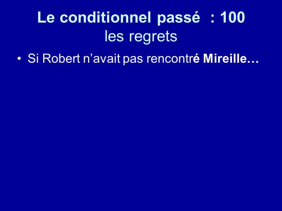Le conditionnel passé : 100 les regrets Si Robert navait pas rencontré Mireille…
