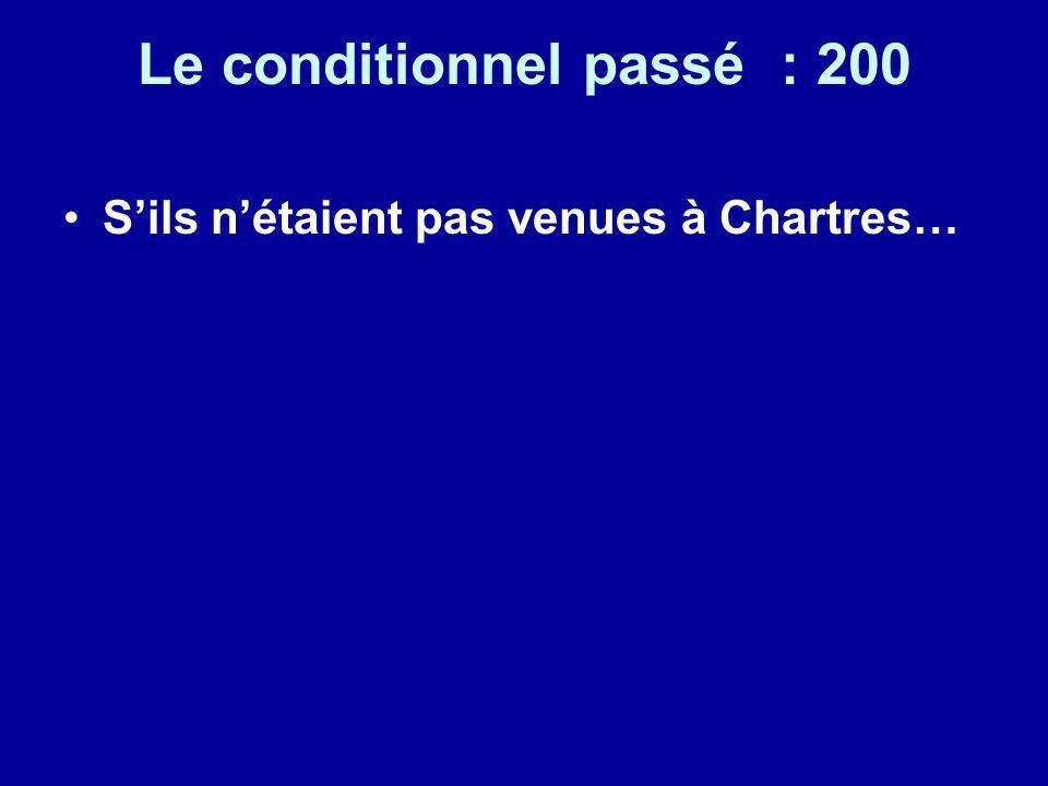 Le conditionnel passé : 200 Sils nétaient pas venues à Chartres…